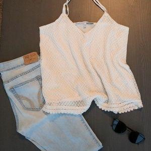 Cream Crochet Tank